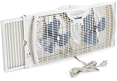 Holmes Dual Blade Dual-blade operation Two speed-settings Twin Window Fan, White Size: Medium model number HAWF2021