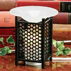 """Electric Essential Oils Fragrance Oils Diffuser Burner W/ Free One Bottle(1/2 Fl.Oz) Random Fragrance Oil- Mesh, Round Design And Gorgeous Frost Glass Top,35 Watt Halogen Bulb With Touch Dimmer Switch , 5"""" H, The Most High-End Quality In The Market,Super"""