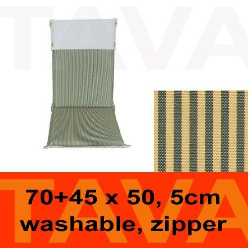 MEBELINO AHCG - Sitzauflage für Hochlehner Gartenstühle mit Befestigungsbänder, wasserabweisend, mit Zipper, 115 (70 + 45)x50 cm, 5 cm dick, creme grün