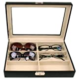Eyeglasses Sunglasses Storage Case Leather Box Organizer for 6 Glasses