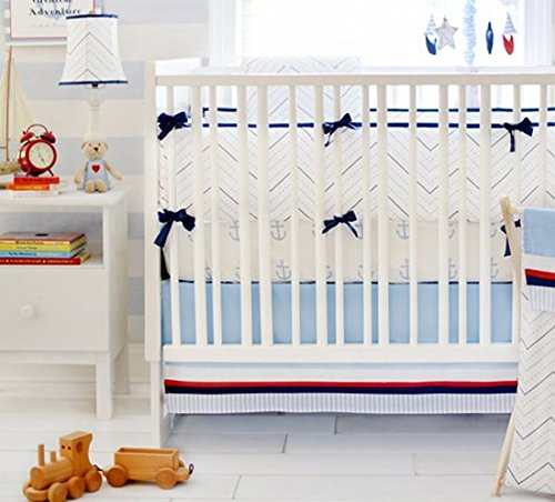 My Baby Sam First Mate 3 Piece Crib Bedding Set, Blue/Navy/Red/White