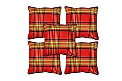 Aakarshan South Cotton Chekered Cushion Cover Set (5 pcs)