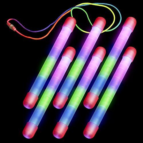 Etekcity Rainbow Bar: Multi-Color LED Flashing Light-Up Sticks (6 Pack)