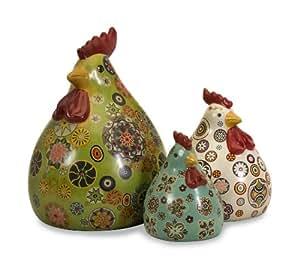 Classic Porcelain Chicken Hen Sculptural Statue Collection - Kitchen Décor - Set of 3