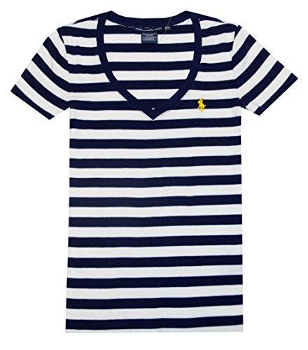 Ralph Lauren Sport Women V-Neck Ribbed Striped Pony Logo T-Shirt (Xl, Navy/White)