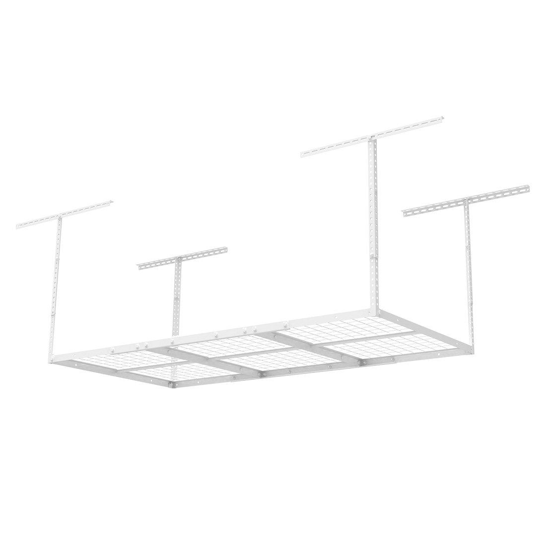 "FLEXIMOUNTS 3x6 Overhead Garage Storage Adjustable Ceiling Storage Rack, 72"" Length x 36"" Width x 40"" Height (white)"
