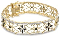 "Yellow Gold Plated Sterling Silver Sapphire and Diamond Accent Flower Bracelet, 7.5"" from Amazon Curated Collection"