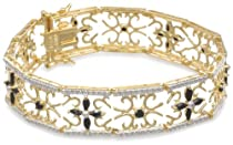 Hot Sale Yellow Gold Plated Sterling Silver Sapphire and Diamond Accent Flower Bracelet, 7.5""