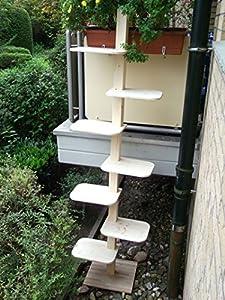 katzenleiter xxl katzentreppe natur katzenbaum katzen treppe balkon massivholz 2 30 m. Black Bedroom Furniture Sets. Home Design Ideas