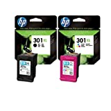 2 CH563EE/CH564EE (HP301XL Twin) Original Printer Ink Cartridges - For use with HP Deskjet 1050 1050S 2050 2050S 3050 3050S - Black+Tri-Colour- XL