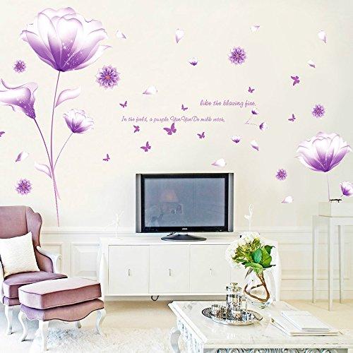 ufengke® Belles Fleurs Pourpres Stickers Muraux,Salon