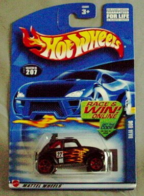 Hot Wheels 2002 Baja VW Bug #207 Mainline BLACK - 1