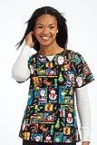 Peaches Sport by Peaches Uniforms Women's 100% Cotton Nancy Keyhole Neck Scrub Top (Christmas Spirit Medium)