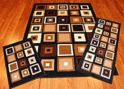 Rug and Decor Elements Collection 3 Piece Area Rug Set Area Rug Scatter and Runner #6188 Black Beige Cubes Geometric Area Rug