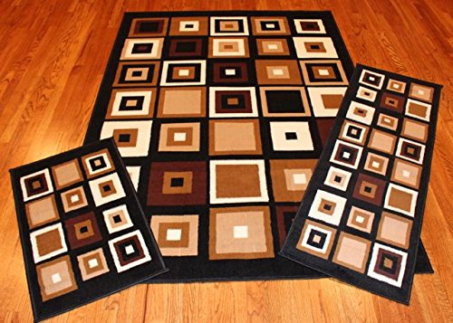 Abrahami Sultan 3-piece Area Rug Set Modern Abstract Cube Boxes -Includes Area Rug -Runner - Scatter Rug 6188