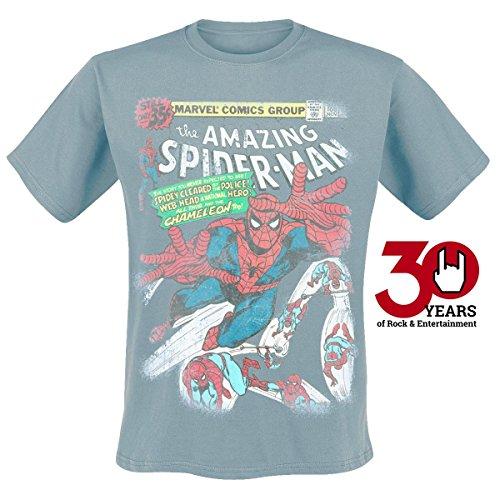 Spider-Man-Distressed-Comic-Camiseta-Azul-XXL
