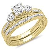 1.00 Carat (ctw) 14K Gold Round Diamond Ladies Vintage 3 Stone Bridal Engagement Ring Band Set 1 CT