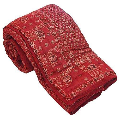 Diseño de algodón Little India Pure Razai granate de funda de edredón para cama de matrimonio