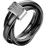 JewelryWe Bijoux Bague Femme Anneaux Entrelacé Faux Diamant Mariage Céramique Acier Inoxydable Anneaux Fantaisie Couleur Noir Argent Largeur 3mm Avec Sac Cadeau(Taille de Bague Optionnel)