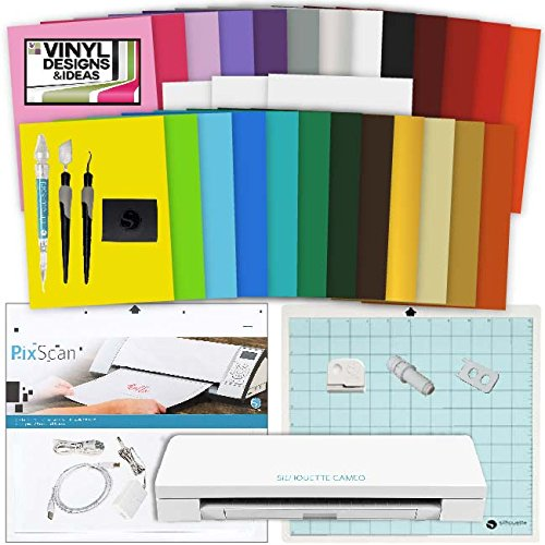 Silhouette Cameo 3 Machine Bundle Vinyl Starter Bundle- 25 sheets vinyl with transfer paper, Tools, Vinyl designs, PixScan Mat (Vinyl Starter Bundle compare prices)
