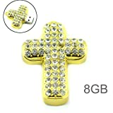 8GB Crystal Jewelry Cross Shape USB FLash Drive with Chain Ring -Golden