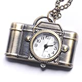 81stgeneration Women's Brass Vintage Style Camera Pocket Watch Chain Pendant Necklace, 78 cm
