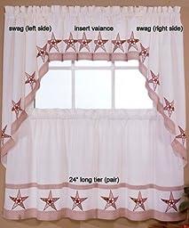 Country Stars - Ecru/Red - 36\'\' tier (pr) Kitchen Curtain