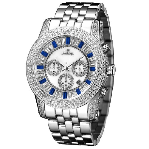 "Just Bling Men's JB-6219-B ""Python Silver Blue"" Stainless Steel Chronograph Diamond Watch"