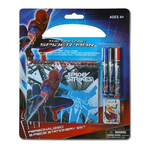 Spiderman 5 Piece Personalized Study Kit/stationery Set, School Supplies with 1 Dry Erase Note Pad, 3 Wipe-off Markers, 1 Wipe Off Cloth