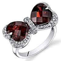 Peora 14K White Gold Heart Garnet Diamond Ring (7.6 cttw) by Peora