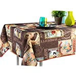"60 x 120-Inch Rectangular Tablecloth Brown Vintage Provence Cabaret, Stain Resistant, Washable, Liquid Spills bead up, Seats 10 to 12 People (Other Size Available: 63"" Round, 60 x 80"", 60 x 95"")."