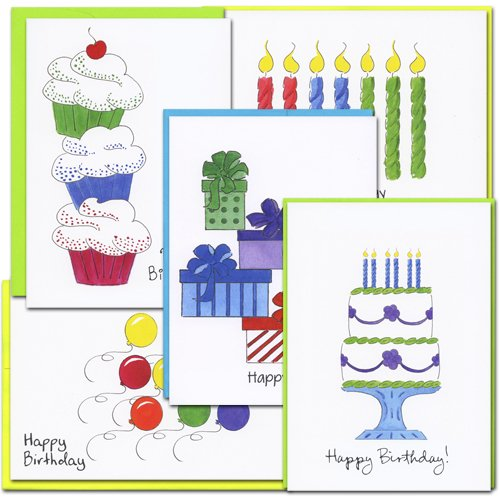 Birthday Cards: Color Sketch Assortment - 2 each