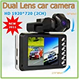 Gadgetwarehouse™ - NEW Dual Lens Dashboard Car vehicle Camera Video Recorder DVR CAM 720P 2CH HDMI TWIN Camera