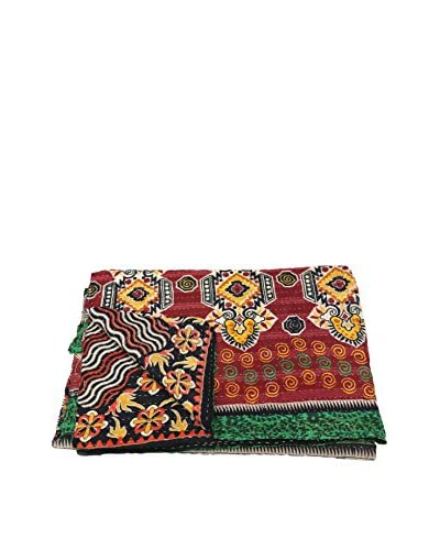 Kantha Bengali Printed Quilted Throw, Multi As You See