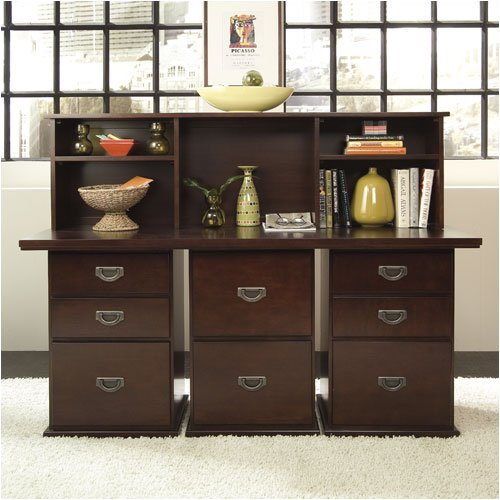 "Riverside Furniture Basics Office Series Basics 66"" W Double Pedestal Desk with File Cabinet and Sto"