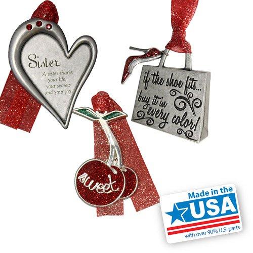 Gloria Duchin Sister Christmas Ornament 3pc Set imitation rhodium construction