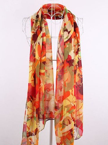amtonseeshop Newest Elegant Beautiful Colorful Abstract Painting Shawl Scarf Chiffon Scarves Shawls (Colorful Abstract Painting (Orange))