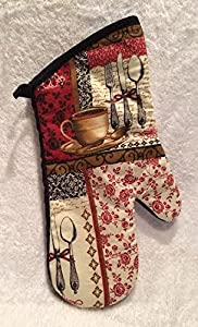 Coffee Themed Kitchen Linen Set (Set Includes an oven mitt two pot holders and two dish towells)
