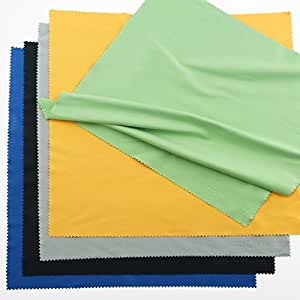 Extra Large Microfiber Cleaning Cloths - 5 Pack - 12 x 12 inch (Black, Grey, Green, Blue, Yellow)