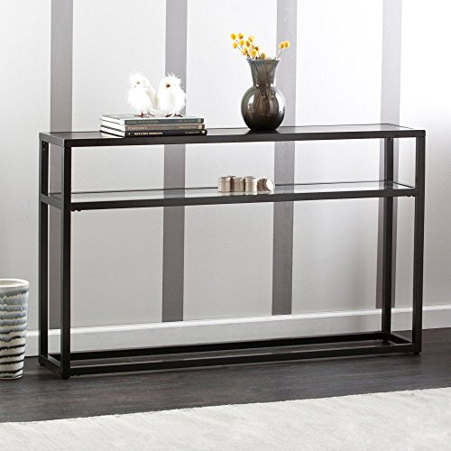 Southern Enterprises Holly and Martin Baldrick Console Table, Glass/Black (Console Table With Metal compare prices)