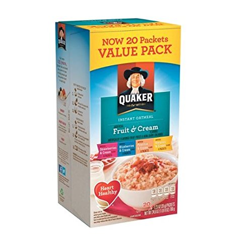 Quaker Fruit & Cream Instant Oatmeal 20 Count Pack (Oatmeal Cream compare prices)