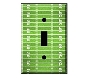 "Single Toggle Light Switch Wall Cover Plate 2.75"" x 4.5"" - Football Field by DecalSkin"