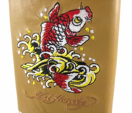 Ed Hardy Koi Fish Wallpaper http://www.dealnay.com/846974/ed-hardy-koi-fish-embroidered-tan-leather-8-oz.-flask.html