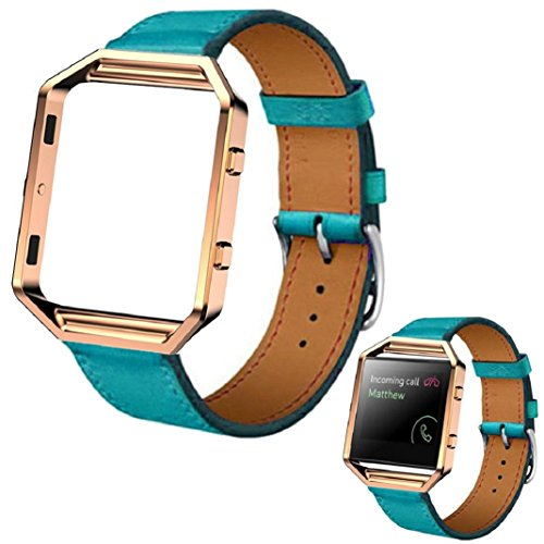 fur-fitbit-blaze-smartwatchculater-luxus-pu-leder-uhrenarmband-handschlaufe-metallrahmen-blau