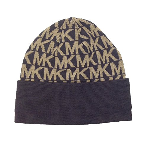 Michael-Kors-MK-Repeat-Logo-Knitted-Beanie-Hat-Chocolate-Camel