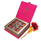 Love Sensational Chocolates With 24k Red Gold Rose - Chocholik Belgium Chocolates