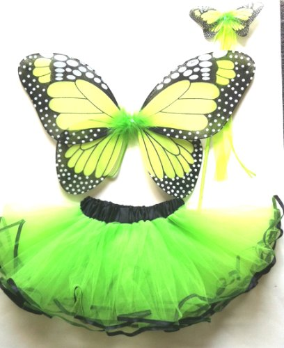 LIGHT GREEN MONARCH BUTTERFLY TUTU SET(3PC)