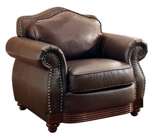 Leather Sofa Price: Homelegance 9616BRW-1 Sofa Chair Dark Brown Bonded Leather