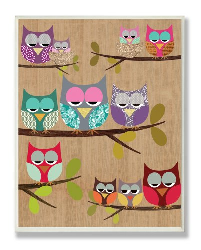 The Kids Room by Stupell Woodland Owls on Branches Rectangle Wall Plaque
