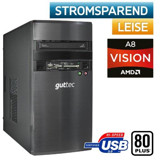 #2205 ECO-TEC Gaming / Office / Multimedia PC Front USB3.0 AMD Llano A8-3870 4x3GHz +ArcticAlpine64/MSI A75MA-P35 FM1 Mainboard/AMD HD6550D DX11 Grafikkarte mit DVI /Crucial 4GB-DDR3 PC1866/500GB SATA III/22x DVD-Brenner DL, 7.1 Sound, GigabitLAN, BeQuiet 300Watt 80PLUS Netzteil